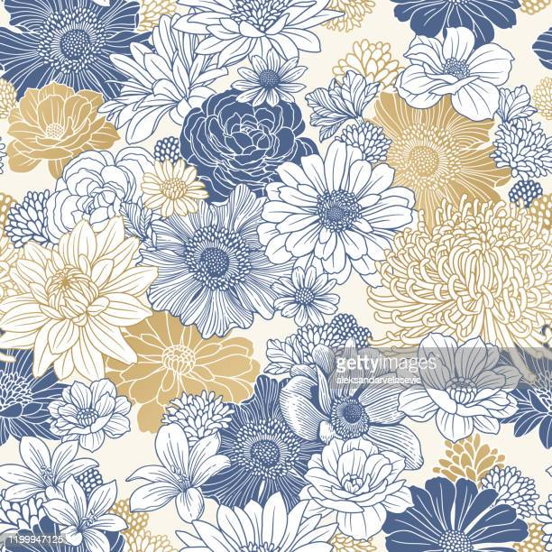 illustrazioni stock, clip art, cartoni animati e icone di tendenza di seamless floral pattern - motivo floreale