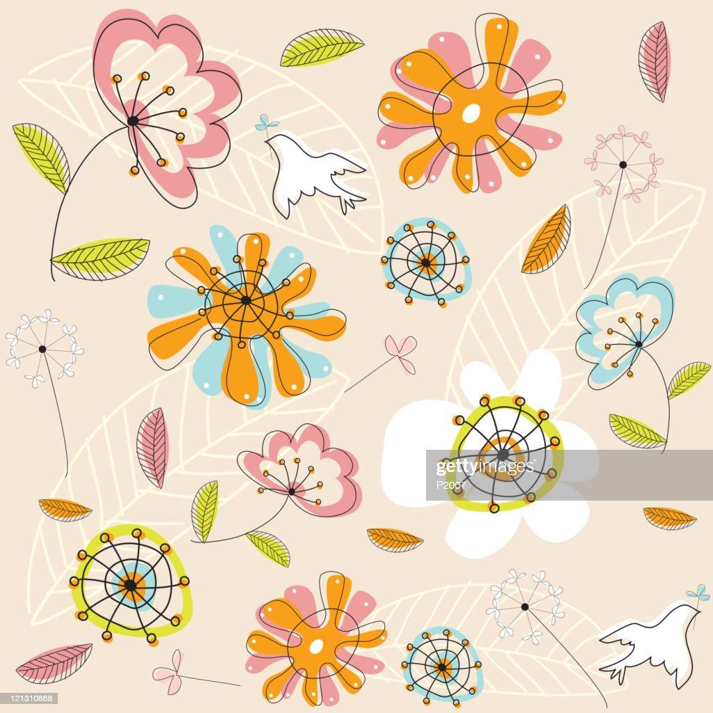 シームレスな花パターン : ベクトルアート