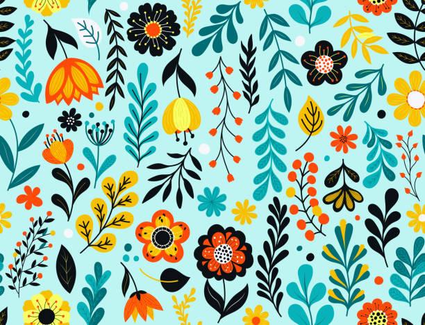 seamless floral pattern - femininity stock illustrations