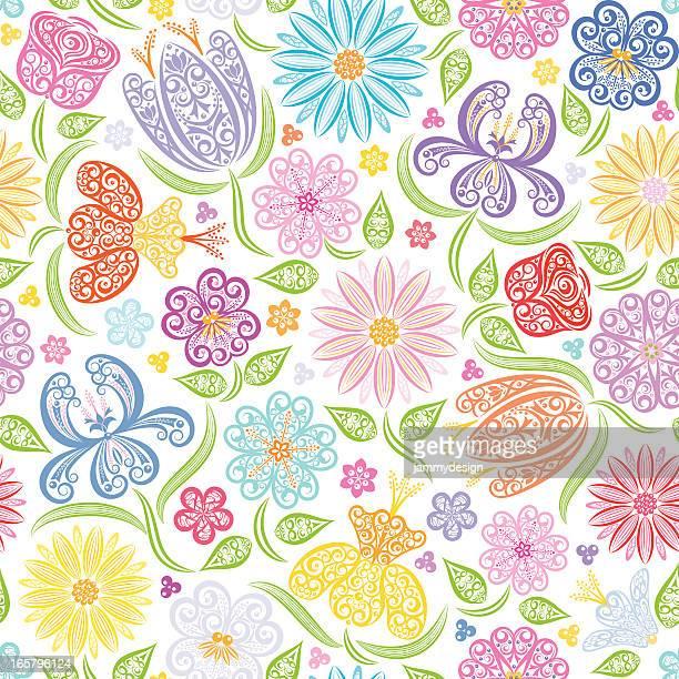 シームレスな花パターン - purple roses bouquet点のイラスト素材/クリップアート素材/マンガ素材/アイコン素材