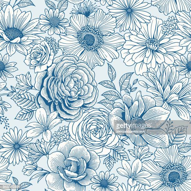 seamless floral pattern - flower stock illustrations