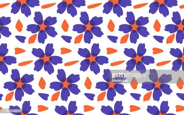 ilustraciones, imágenes clip art, dibujos animados e iconos de stock de vector de patrón floral sin costuras - diseño floral