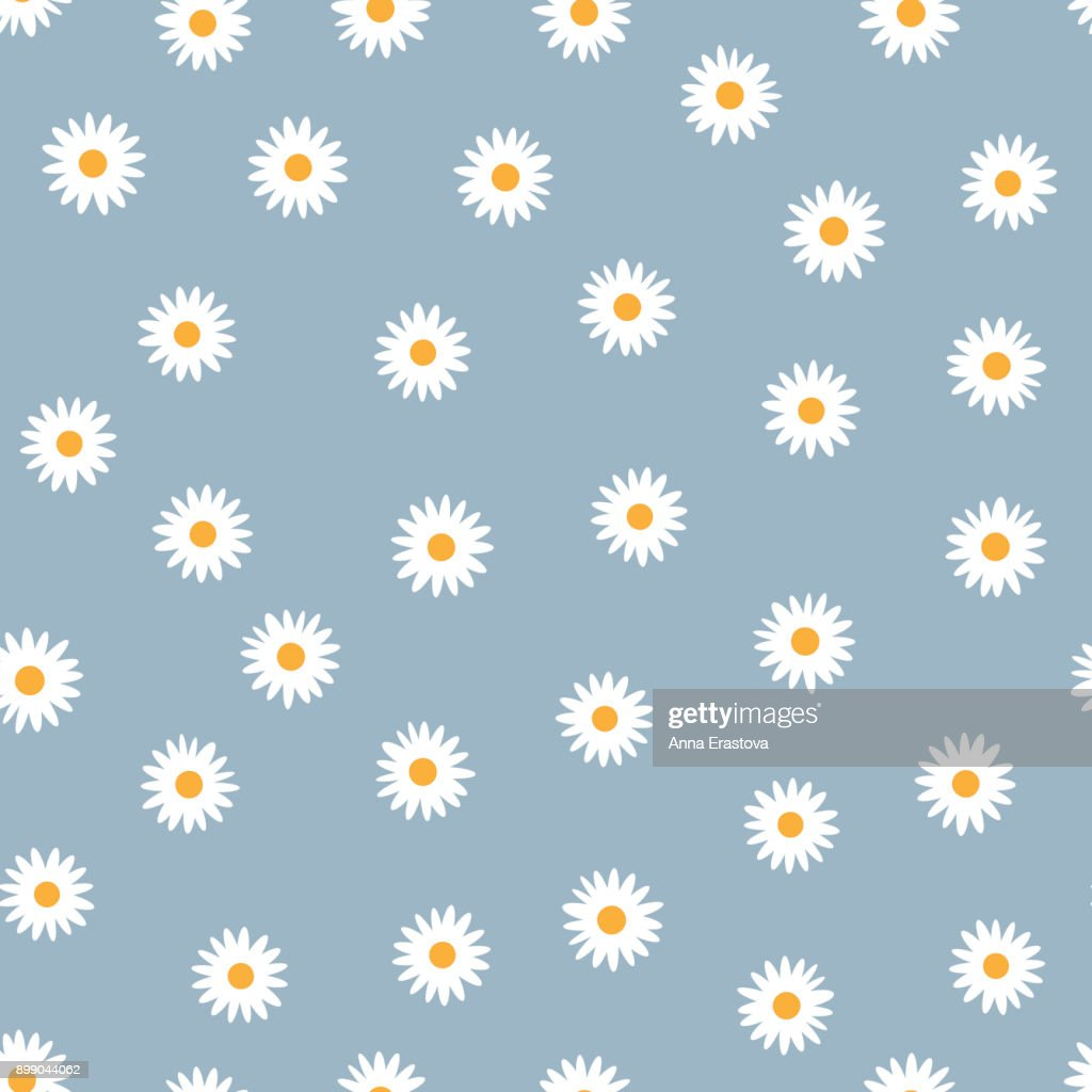 Seamless floral pattern. White daisies on a blue background.