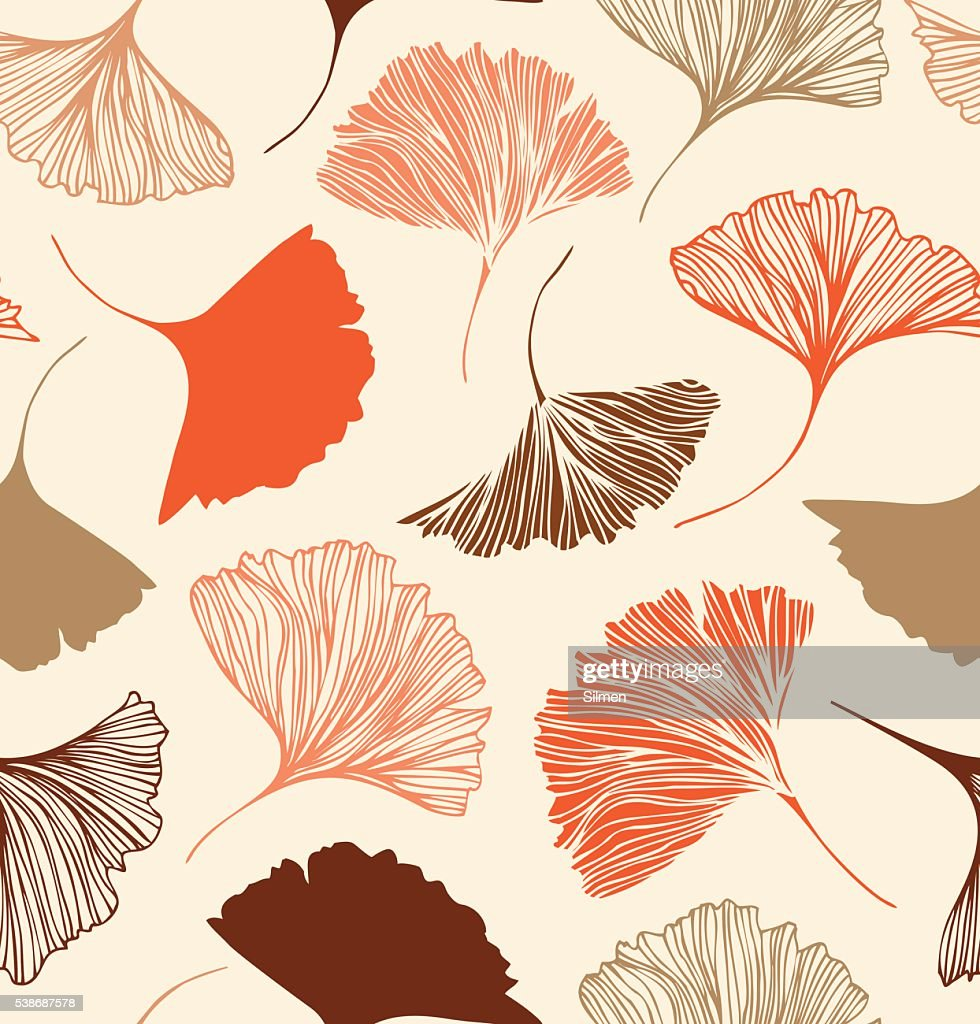 Seamless floral pattern with beauty ginkgo leaves.