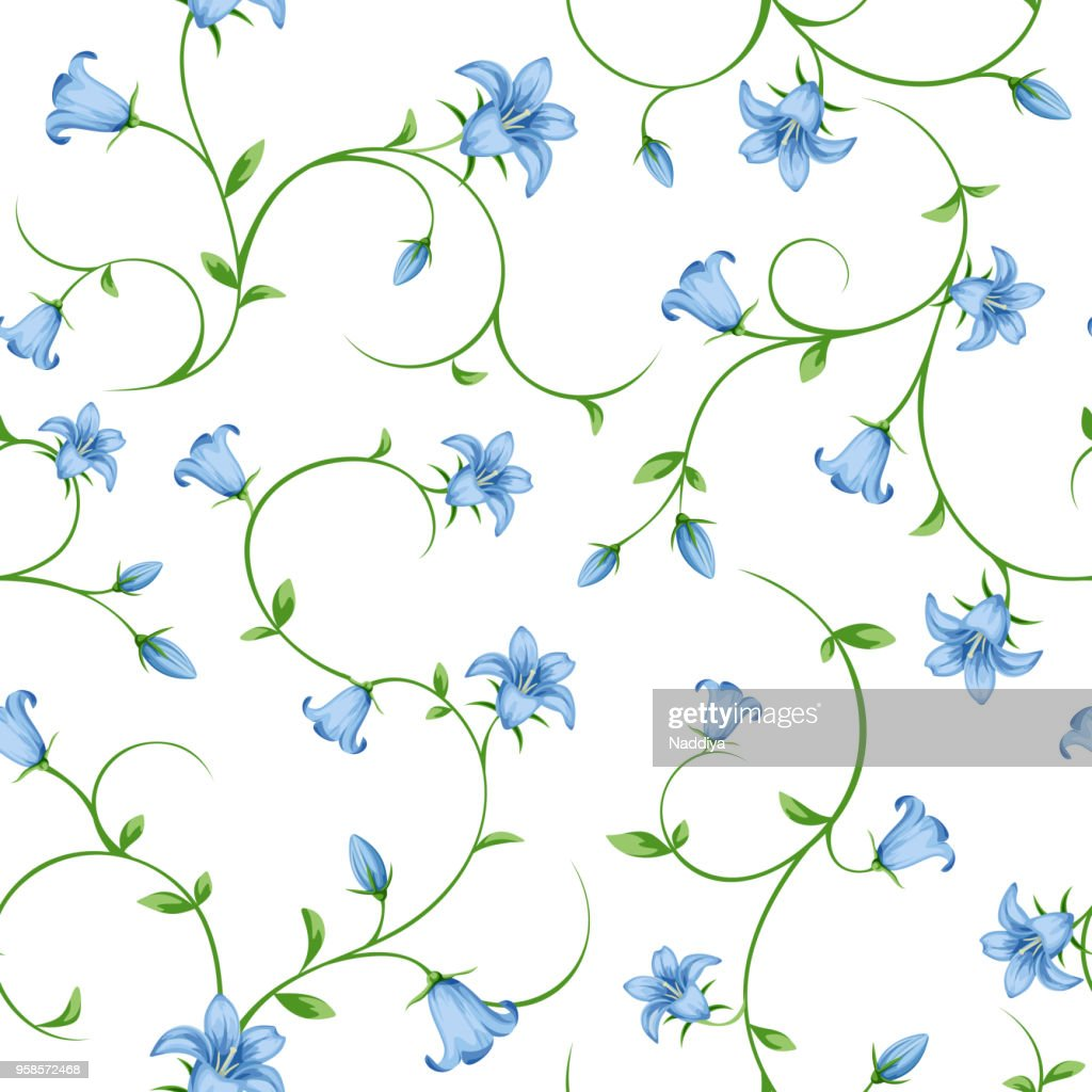 Seamless floral pattern with bluebell flowers. Vector illustration.