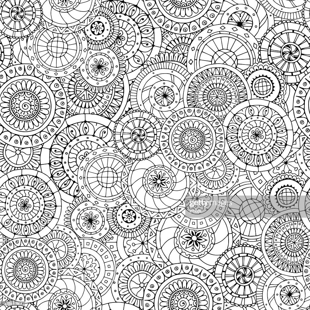 Seamless floral pattern with doodles and cucumbers.