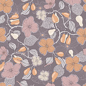 Seamless floral pattern with flowers and dogwood