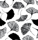 Seamless floral pattern with Ginkgo leaves.