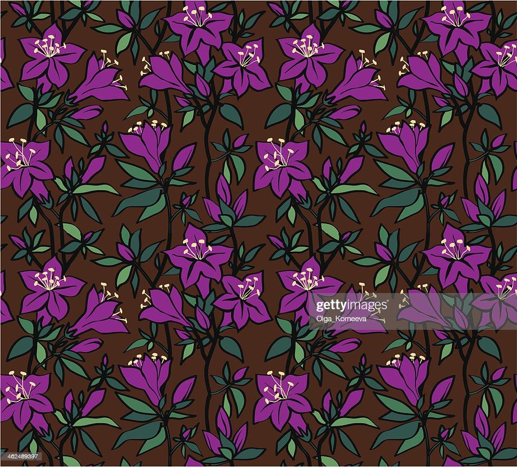 Seamless floral pattern with purple flowers of an azalea