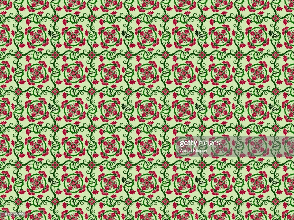 seamless floral pattern with red bindweed flowers