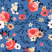 Seamless floral pattern with roses, peonies and branches