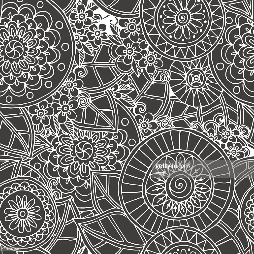 Seamless floral retro doodle black and white background pattern