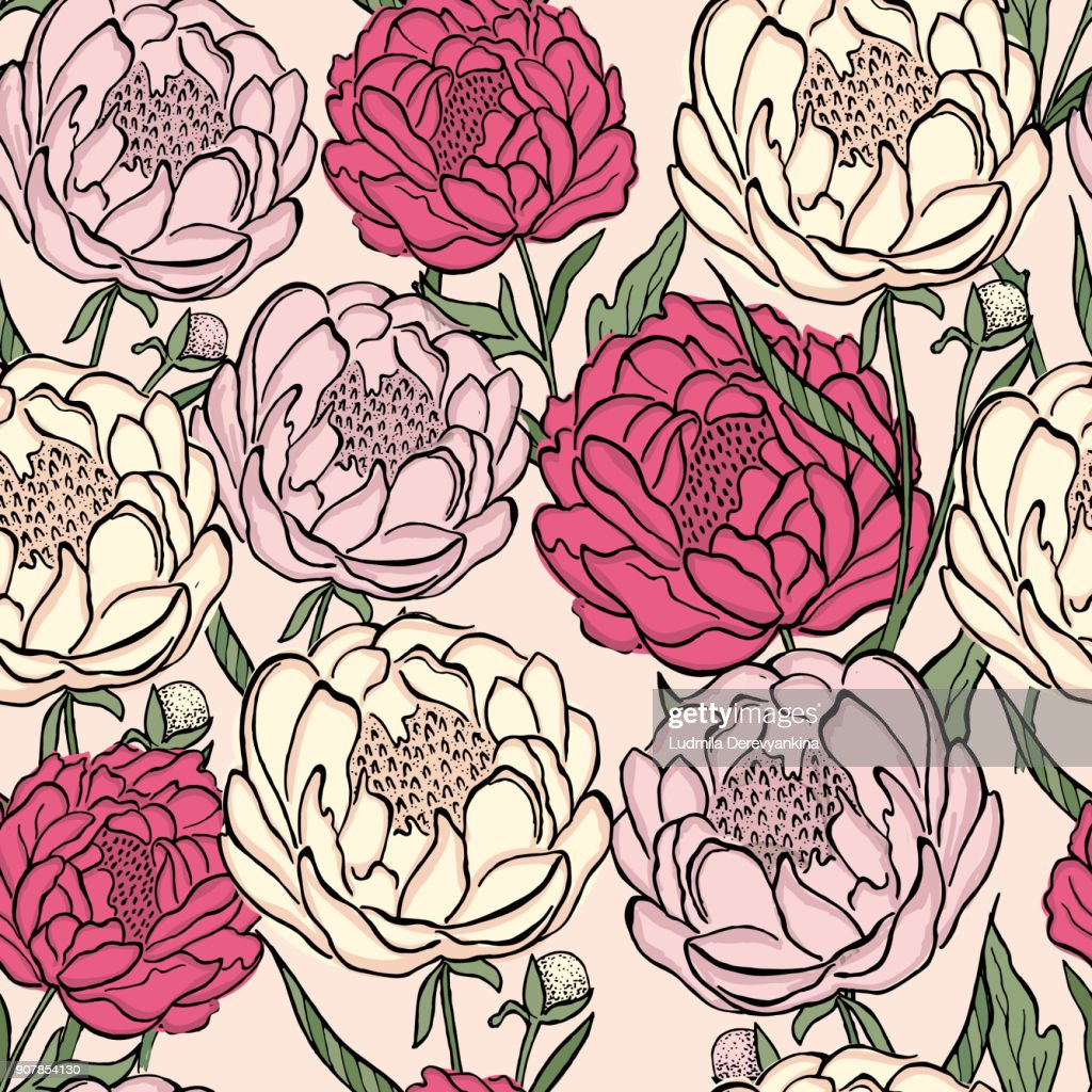 Seamless floral vector pattern peony. Flowers and leaves, can be used as greeting card, invitation card for wedding, birthday and other holiday and summer background.