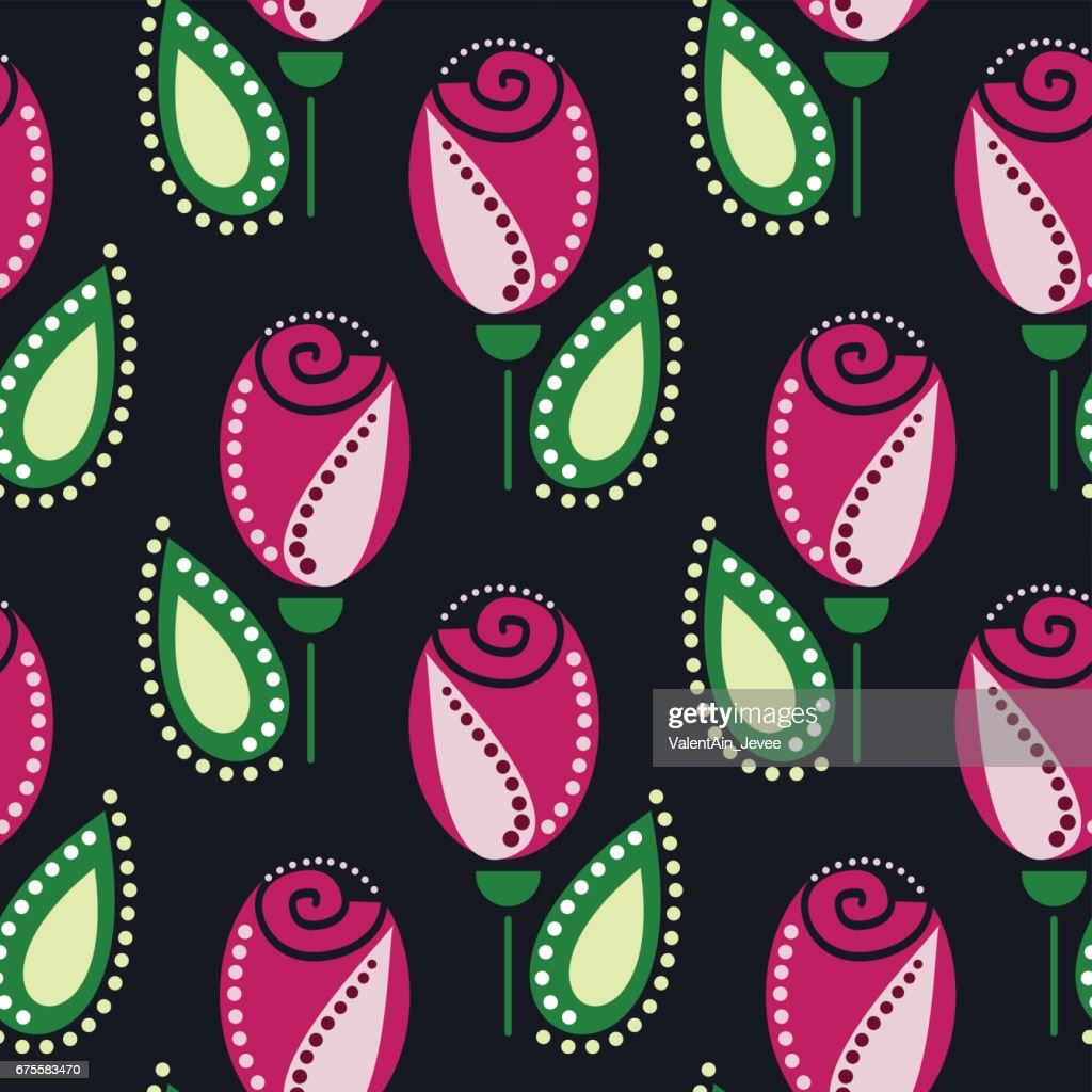 Seamless floral vector pattern. Symmetrcial ornamental background with pink roses, leaves on the blue backdrop. Decorative repeating ornament, Series of Floral and Decorative Seamless Pattern.