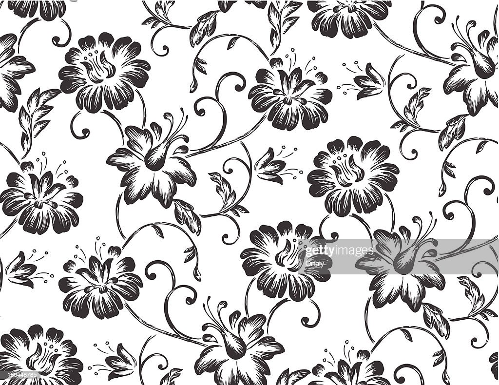Seamless Floral Wallpaper Illustration High Res Vector Graphic