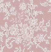 Seamless floral white lace pattern on pink background