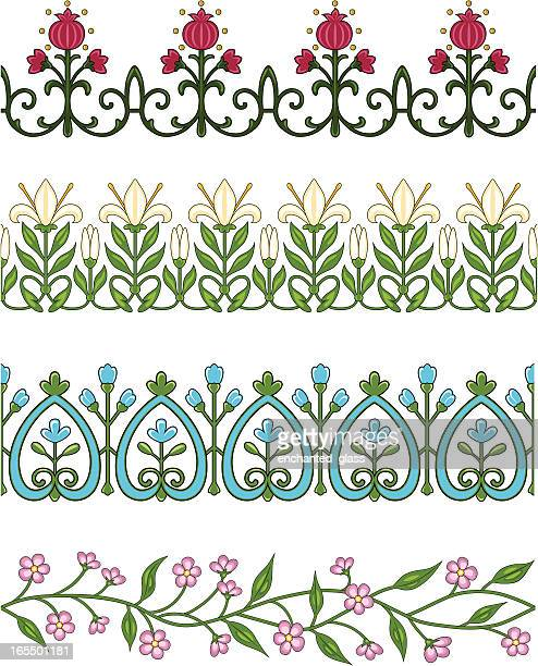 seamless flower borders/trim - easter lily stock illustrations
