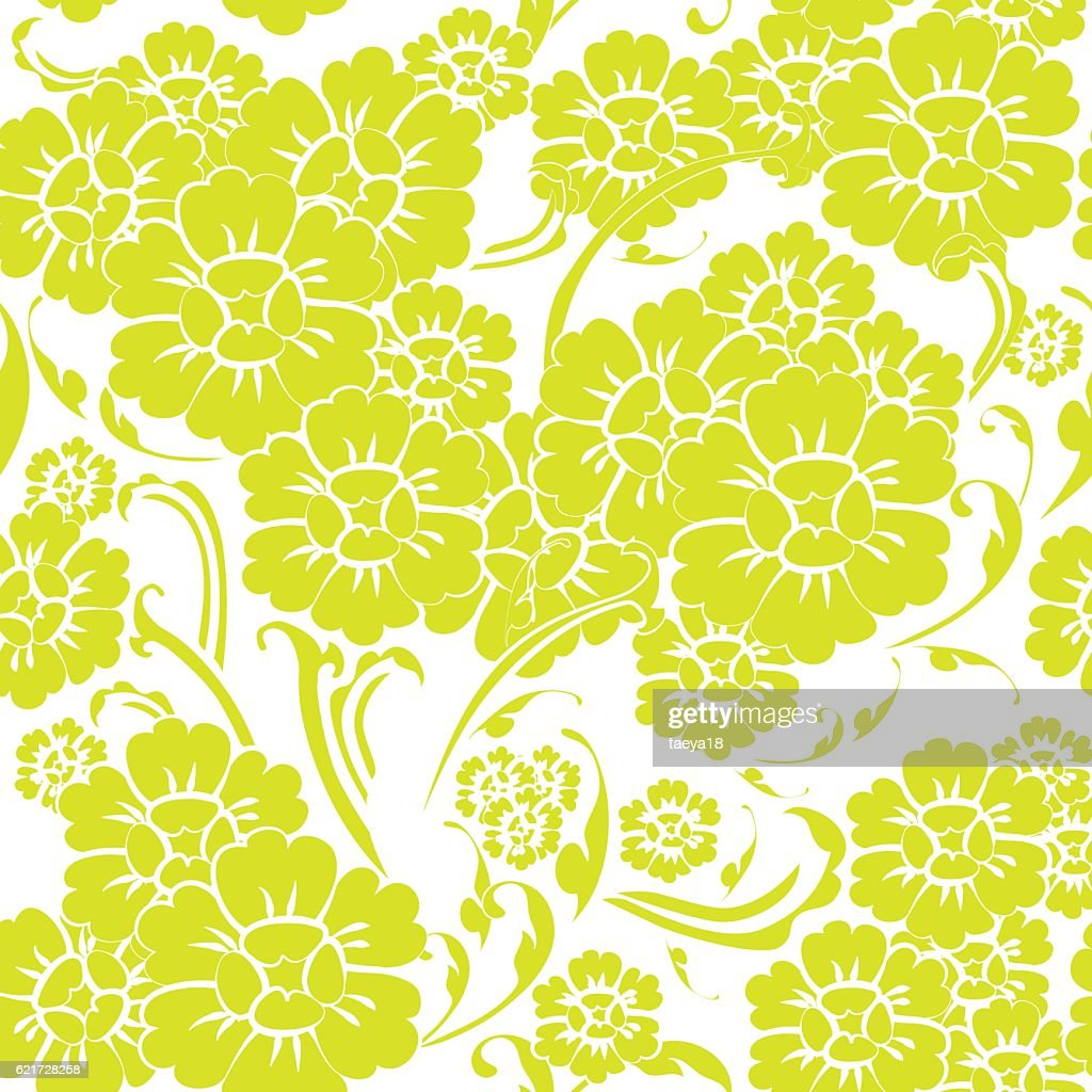 seamless flower vintage green pattern