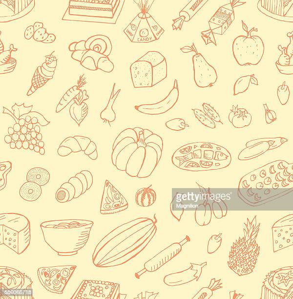 seamless food doodles - marrom stock illustrations