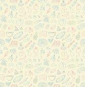 Seamless Food Doodles
