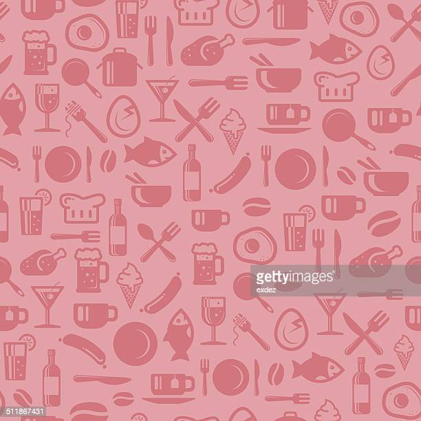 seamless foods pattern - vintage restaurant stock illustrations