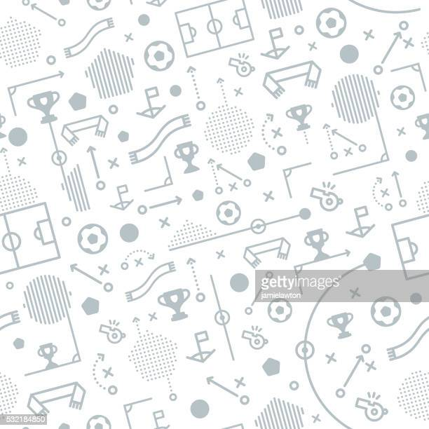 seamless football soccer pattern background - strategy stock illustrations, clip art, cartoons, & icons