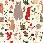 Seamless forest animal background