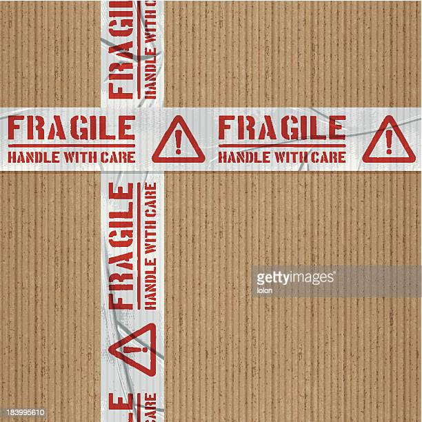 seamless fragile handle with care adhesive tape with cardboard - fragility stock illustrations