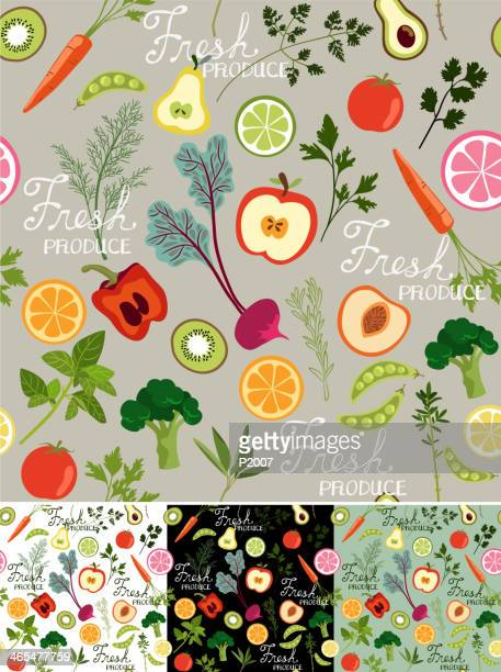 seamless fresh produce background - bell pepper stock illustrations, clip art, cartoons, & icons