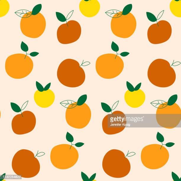 ilustrações de stock, clip art, desenhos animados e ícones de seamless fruit pattern - laranjeira