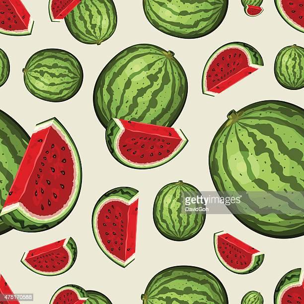seamless fruit pattern - watermelons - watermelon stock illustrations
