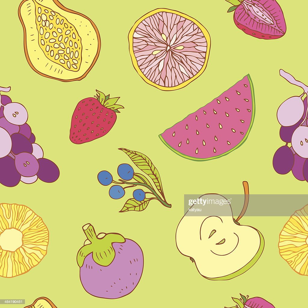 Seamless fruits background : Vector Art