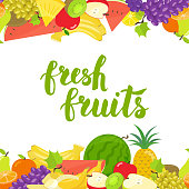 Seamless fruits horizontal border