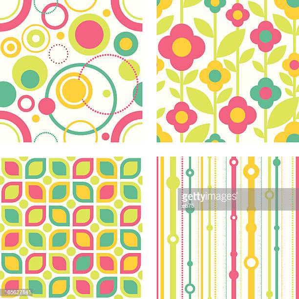 Seamless funky retro patterns
