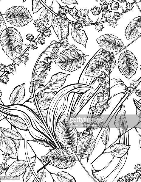 seamless garden plants with lily of the valley - pen and ink stock illustrations