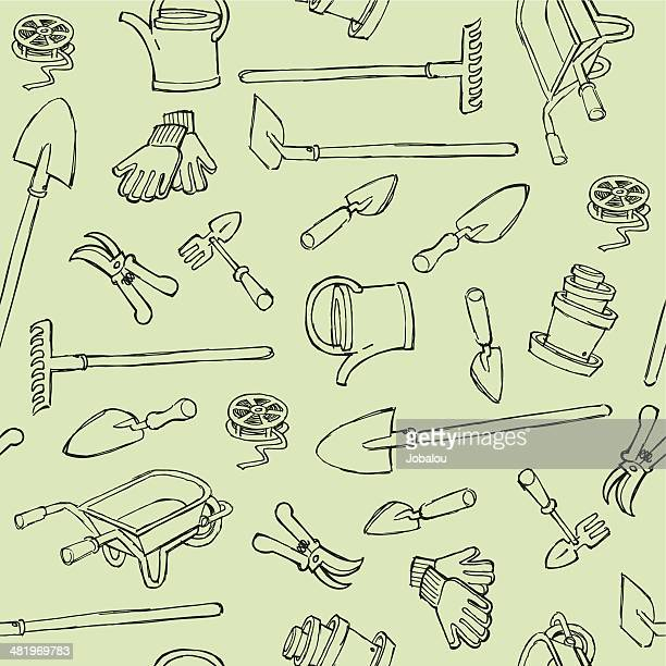 seamless gardening instruments - gardening glove stock illustrations, clip art, cartoons, & icons