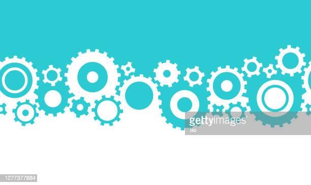 seamless gear edge border frame - manufacturing equipment stock illustrations