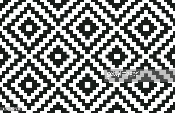 seamless geometric black and white pattern - indigenous culture stock illustrations
