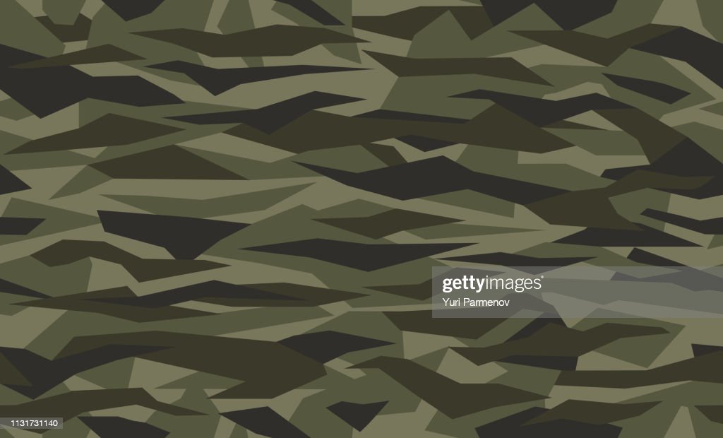 Seamless geometric camouflage pattern. Military texture with debris shape. Green, brown. forest, soldier camo background. Vector army fabric textile print.