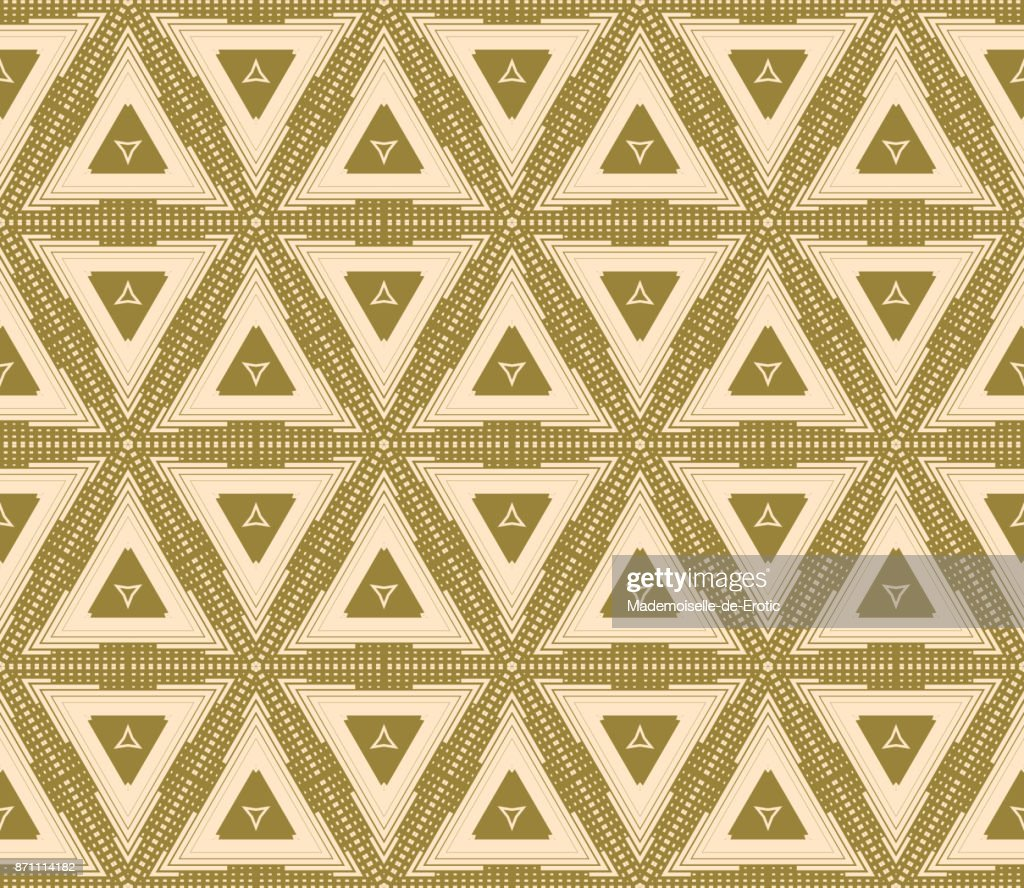 Seamless Geometric Triangles.Beige Background. Vector texture Pattern
