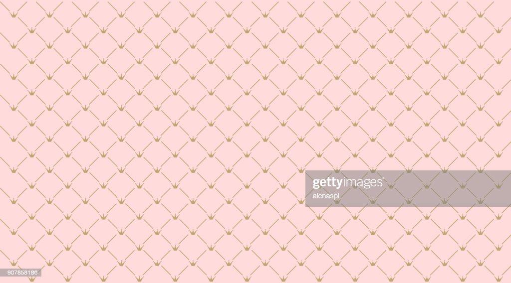 Seamless girlish pattern.Gold crown on pink background.