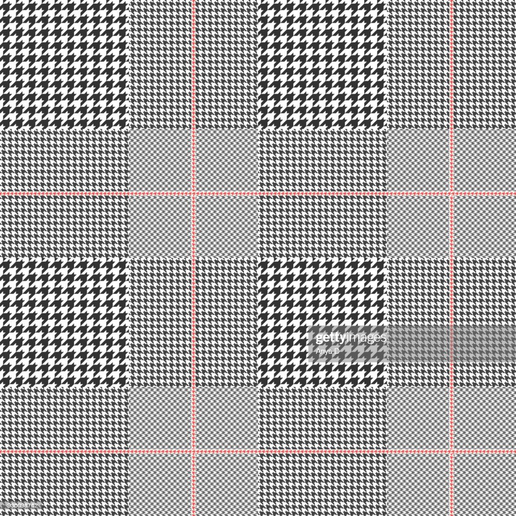 Seamless glen plaid pattern. Color palette: black and white with red overcheck. Classic Prince of Wales texture for digital textile printing.