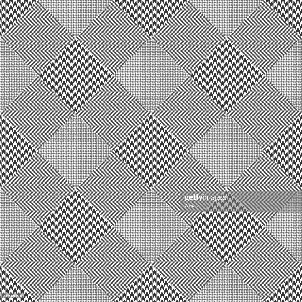 Seamless glen plaid pattern in classic black and white. Diagonal print.