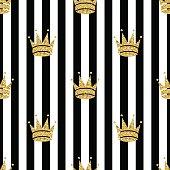 seamless gold glitter crown pattern on stripe background