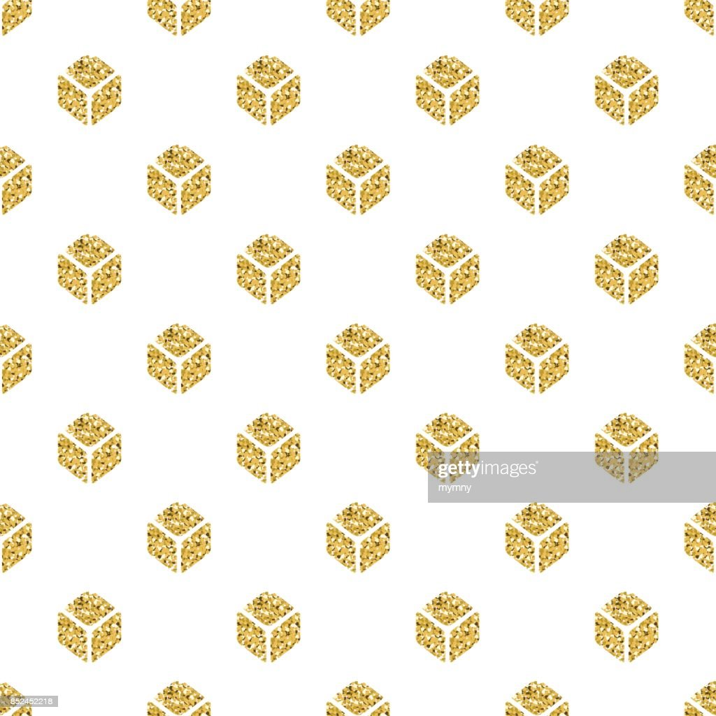 seamless  gold glitter isometric square symmetry pattern on white background