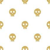 seamless gold glitter skull pattern background