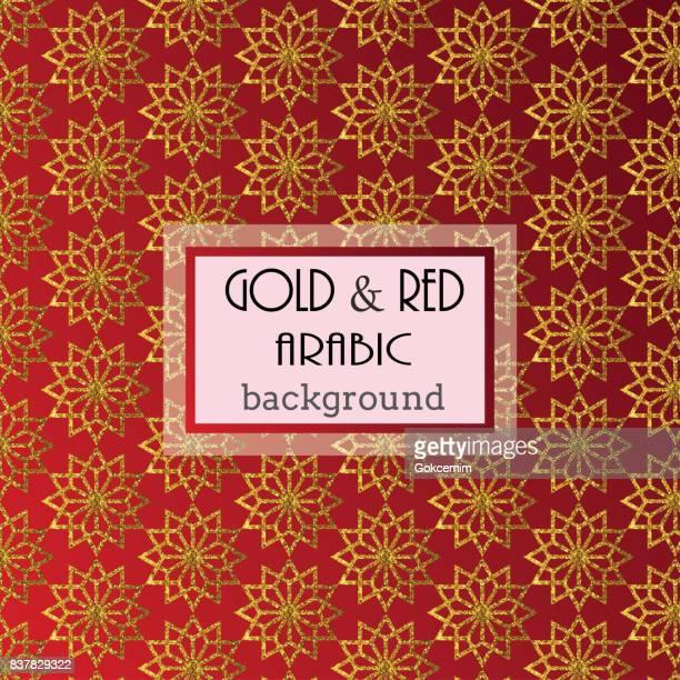 seamless gold islamic pattern on red gradient background, illustration - arabic script stock illustrations, clip art, cartoons, & icons
