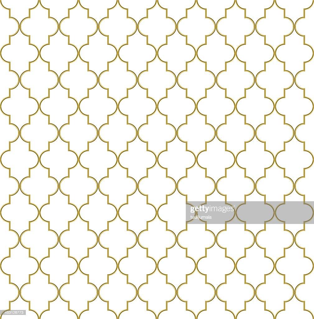 Seamless golden oriental grille
