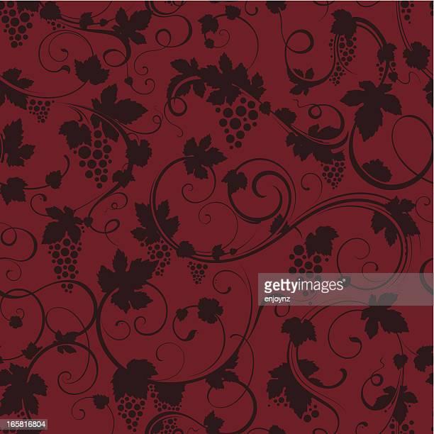 seamless grapevine background - grape stock illustrations, clip art, cartoons, & icons