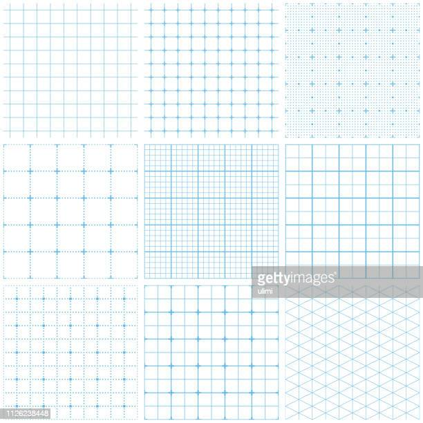 seamless graph paper - printout stock illustrations